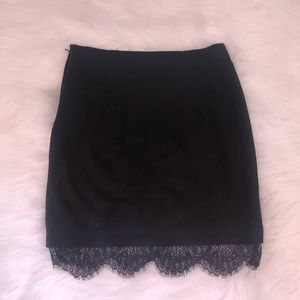 H&M black mini skirt with lace